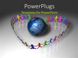 PowerPlugs: PowerPoint template with colorful paper kids forming love shape around earth globe