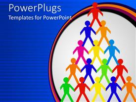 PowerPoint template displaying colorful paper men standing on each others shoulder form triangle