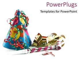 PowerPlugs: PowerPoint template with colorful party hat and party decorations in white background