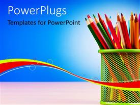 PowerPlugs: PowerPoint template with colorful pencils arranged in basket on desk