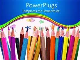 PowerPlugs: PowerPoint template with colorful pencils and colored circles and flowers on white background