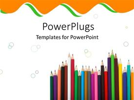PowerPlugs: PowerPoint template with colorful pencils and crayons pointing upwards on white background