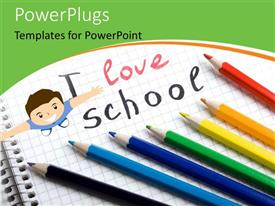 PowerPlugs: PowerPoint template with colorful pencils lined up on exercise book with happy kid