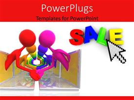 PowerPoint template displaying colorful people emerging from opposite placed laptop screens shaking hands