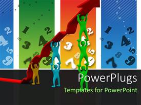 PowerPlugs: PowerPoint template with colorful people pushing up the arrow together with numbers