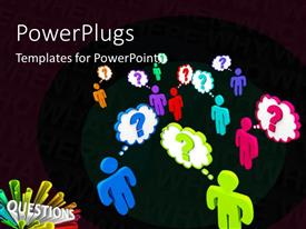 PowerPlugs: PowerPoint template with colorful people stand in a crowd thinking of questions with black color