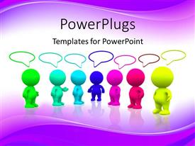 PowerPoint template displaying colorful people standing and talking with purple color