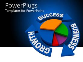 PowerPlugs: PowerPoint template with colorful pie chart with blue arrows written SUCCESS, GROWTH, BUSINESS