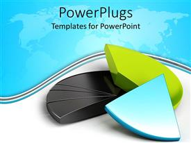 PowerPlugs: PowerPoint template with colorful pie chart pieces on white and blue background