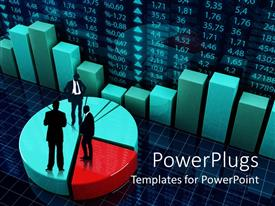 PowerPoint template displaying a colorful pie chart with professionals on top of it