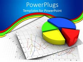 PowerPlugs: PowerPoint template with colorful pie chart with red segment sticking out on chart papers