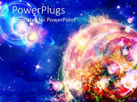 PowerPlugs: PowerPoint template with colorful planet in bright blue background with stars and other bodies