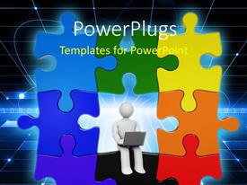 PowerPlugs: PowerPoint template with colorful puzzle with figure working on laptop in dark background