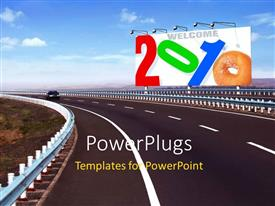PowerPlugs: PowerPoint template with colorful signpost reads 2010 with flood lights beside Highway