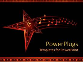 PowerPlugs: PowerPoint template with colorful star with trail of music notes in black background