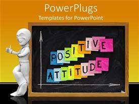 PowerPlugs: PowerPoint template with colorful sticky notes with positive attitude between white arrows with white chalk on school backboard and 3D white figure smiling and pointing his finger up