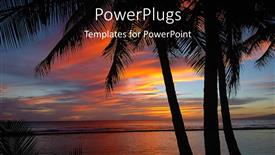 PowerPoint template displaying a number of palm trees with sea in the background