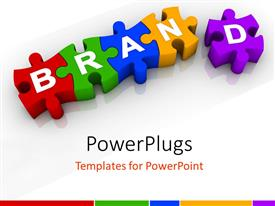 PowerPlugs: PowerPoint template with colorful three dimensional jigsaw puzzle pieces with letters spelling Brand