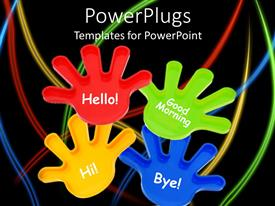 PowerPlugs: PowerPoint template with colorful toy hands waving on black background with colorful lines