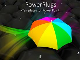 PowerPlugs: PowerPoint template with colorful umbrella with reflection on black background