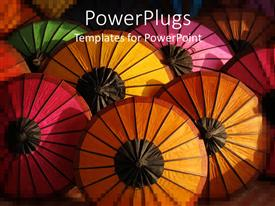 PowerPlugs: PowerPoint template with colorful umbrellas seen from above, pink, orange, red, yellow and green top of umbrellas