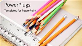 PowerPoint template displaying a lot of color pencils with register in the background