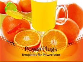 PowerPoint template displaying a combination of oranges and orange juices