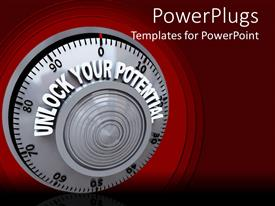 PowerPoint template displaying combination safe lock dial bearing words Unlock Your Potential