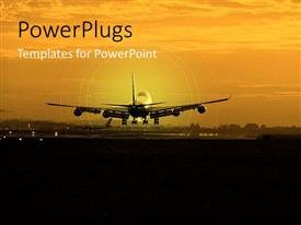 PowerPoint template displaying commercial airplane taking off at dusk