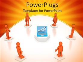 PowerPoint template displaying communication concept orange and white explained with 3D models