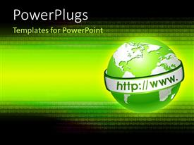 PowerPlugs: PowerPoint template with communication depiction with binary numbers in background and WWW around globe
