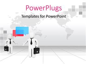 PowerPlugs: PowerPoint template with two professionals with map in the background
