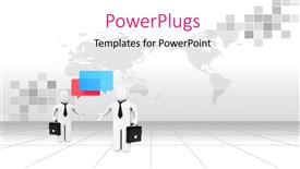 PowerPoint template displaying two professionals with map in the background