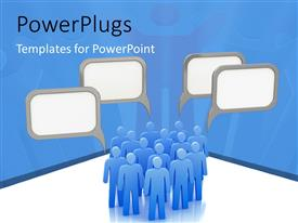 PowerPlugs: PowerPoint template with blank speech bubble over group of blue 3D men