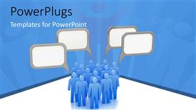 PowerPoint template displaying blank speech bubble over group of blue 3D men