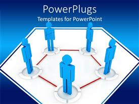 PowerPlugs: PowerPoint template with communications diagram with blue people connected by red pentagon, business, human resources, networking