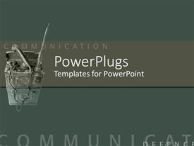 PowerPoint template displaying communications equipment on gray green background