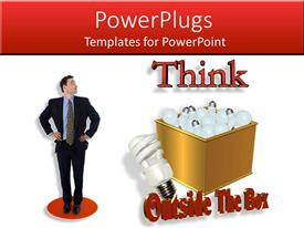 PowerPlugs: PowerPoint template with compact fluorescent light bulb next to gold box of incandecents