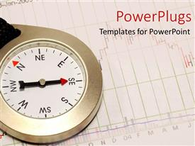 PowerPlugs: PowerPoint template with a compass with its arrow pointing south east on a graph paper