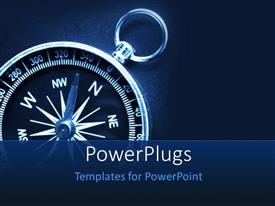 PowerPlugs: PowerPoint template with a compass with bluish background and place for text