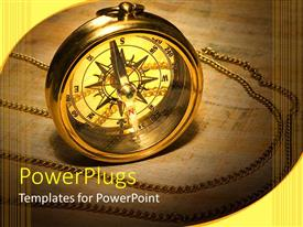 PowerPlugs: PowerPoint template with a compass with a brownish background and place for text
