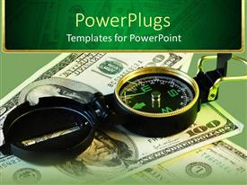 PowerPlugs: PowerPoint template with a compass on a collection of dollar notes