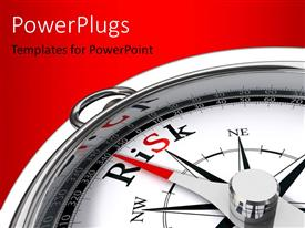 PowerPlugs: PowerPoint template with compass with dial pointing at risk direction over red background