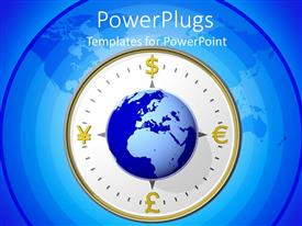 PowerPoint template displaying compass with an earth globe on a blue background