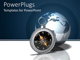 PowerPlugs: PowerPoint template with a compass with the globe in the background