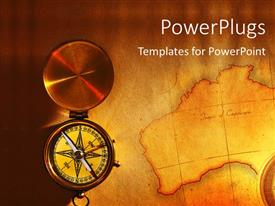 PowerPlugs: PowerPoint template with a compass with a map in the background