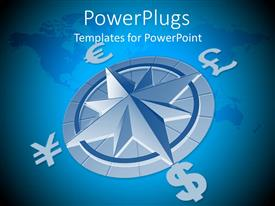 PowerPlugs: PowerPoint template with a compass with the map of the Earth in the background
