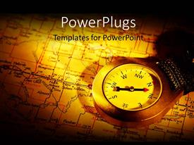PowerPlugs: PowerPoint template with a compass on a map in on a yellow background