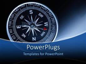 PowerPlugs: PowerPoint template with compass over blue glowing background with red dial