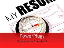 PowerPlugs: PowerPoint template with a compass with a resume in the  background
